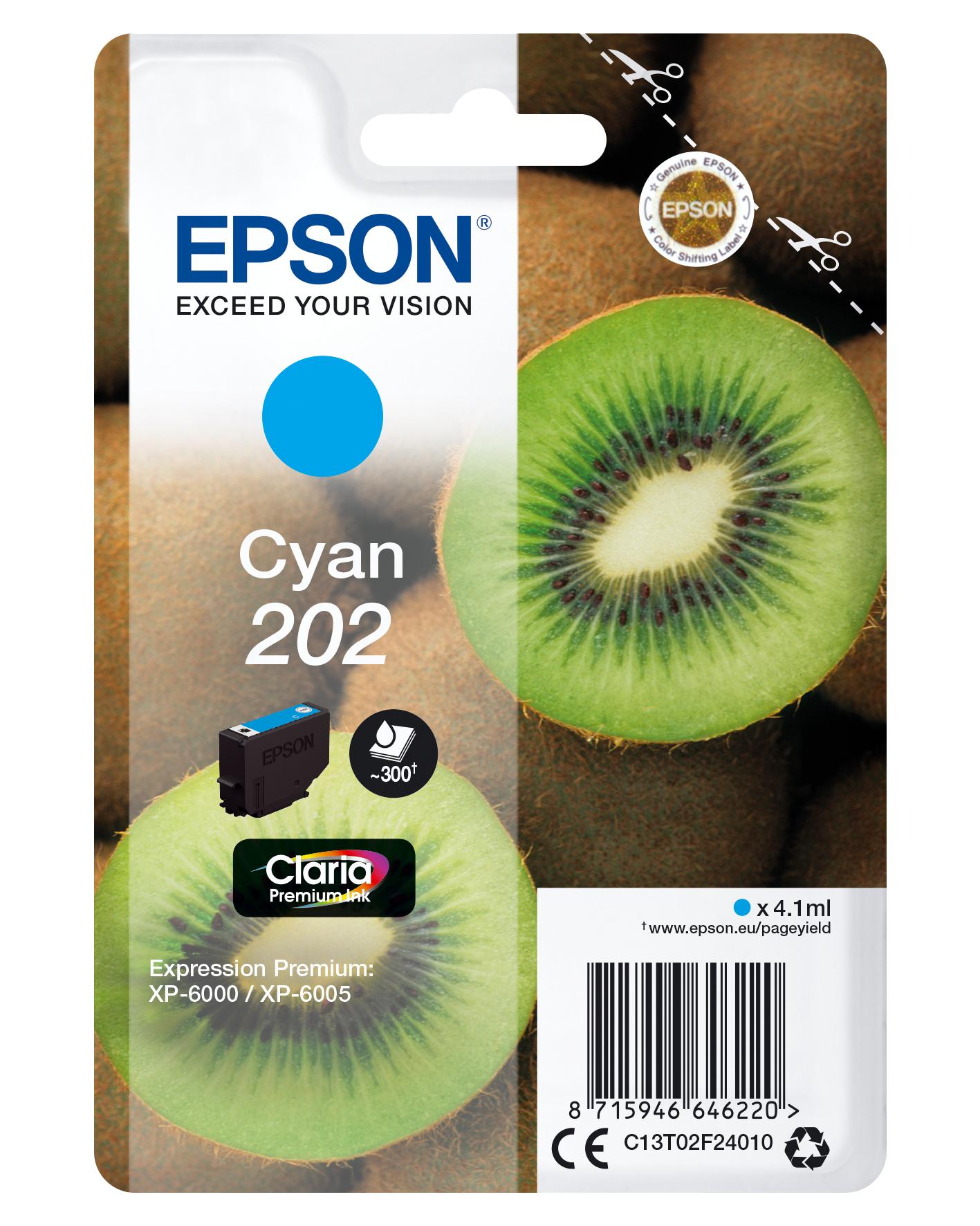 Epson-C13T02F24020-Kiwi-Singlepack-Cyan-202-Claria-Premium-Ink-Original thumbnail 2