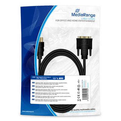 MEDIARANGE MRCS185 - 2 m - HDMI/DVI - Männlich - Gold - Schwarz