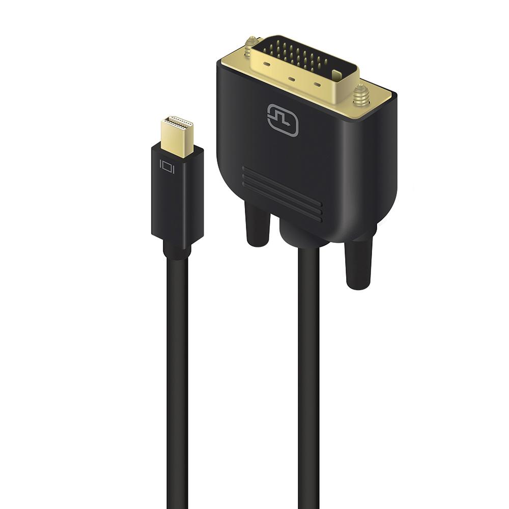 Vorschau: Alogic MDP-DVI-02-MM - 2 m - Mini DisplayPort/DVI-D - Männlich - Gold - Schwarz