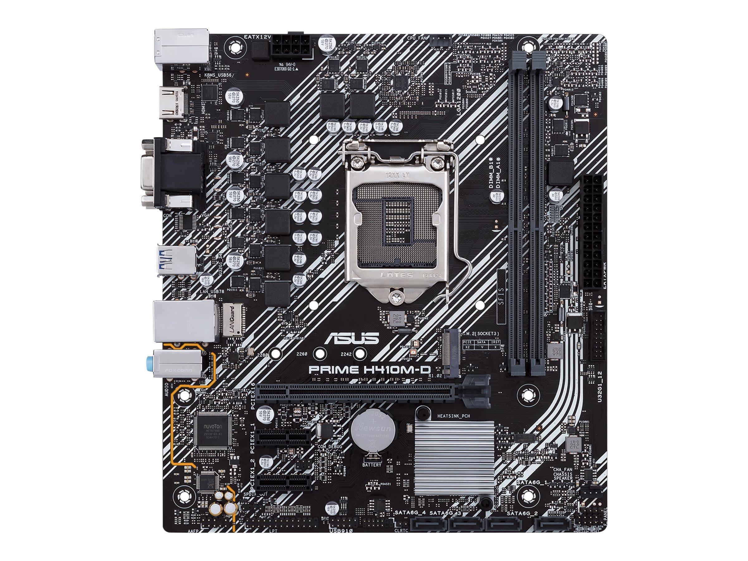 ASUS PRIME H410M-D - Motherboard - micro ATX - LGA1200-Sockel - H410 - USB 3.2 Gen 1 - Gigabit LAN - Onboard-Grafik (CPU