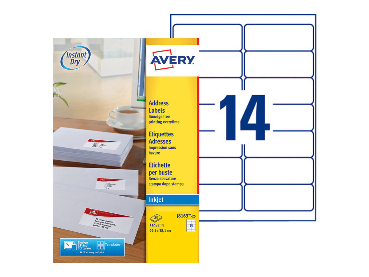 Avery Zweckform  Weiß - 99.1 x 38.1 mm 350 Etikett(en) (25 Bogen x 14) Adressetiketten