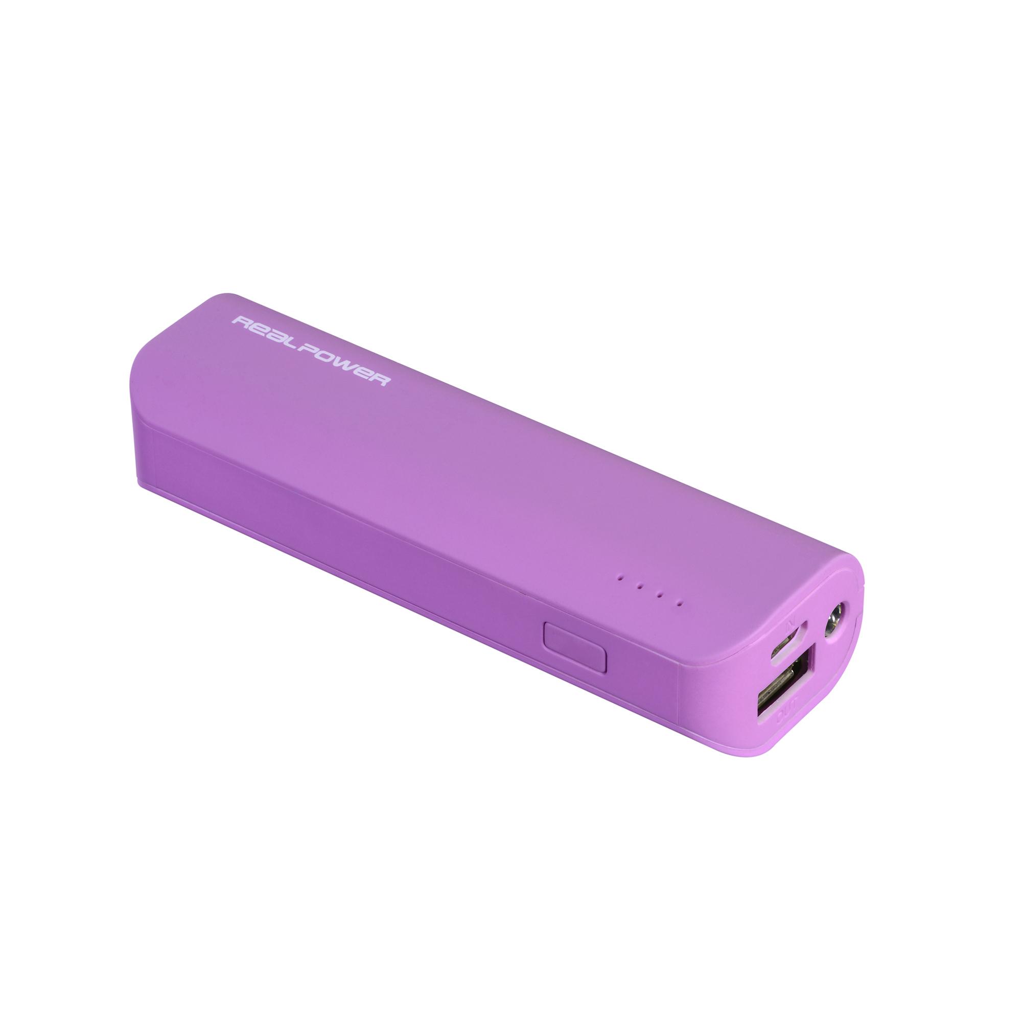 RealPower PB-2600 - Pink - Universal - Kautschuk - Rechteck - Lithium-Ion (Li-Ion) - 2600 mAh