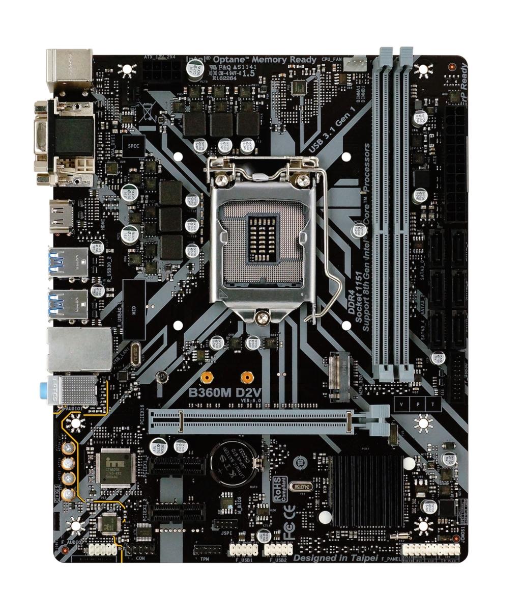 Biostar B360M D2V - Intel - LGA 1151 (Socket H4) - Intel® Celeron® - Intel® Core™ i3 - Intel Core i5 - Intel Core i7 - Intel Core i9 - Intel® Pentium® - LGA 1151 (Socket H4) - DDR4-SDRAM - DIMM