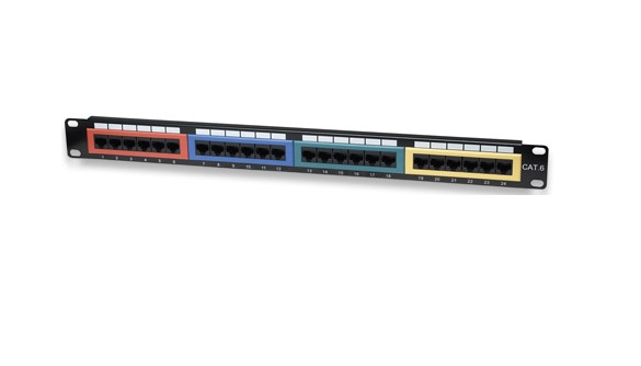 Intellinet Cat6 Color-Coded - Patch Panel - RJ-45 X 24