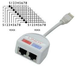 Lindy Port Doubler UTP y-Adapter alle Pole 1 1 verbunden z.
