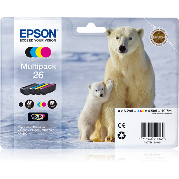 Epson-C13T26164020-Polar-bear-Multipack-4-colours-26-Claria-Premium-Ink