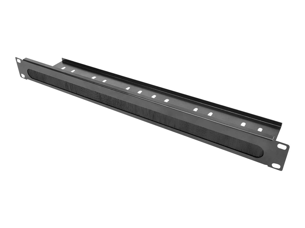 """Intellinet Rack cable entry panel with cable tray - Schwarz, RAL 9005 - 1U - 48.3 cm (19"""")"""
