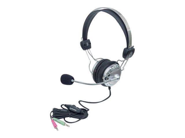 Manhattan Stereo Headset, Adjustable Steel Headband, Flexible Padded Microphone Boom, In-Line Volume Control, Comfortable Padded Ear Cushions, 2x 3.5mm jacks/plugs, Silver/Black, Three Year Warranty, Box