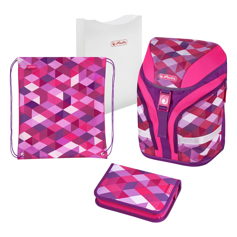 Herlitz 50020362 - Pink Cubes - Schultaschen-Set - Mädchen - 18 l