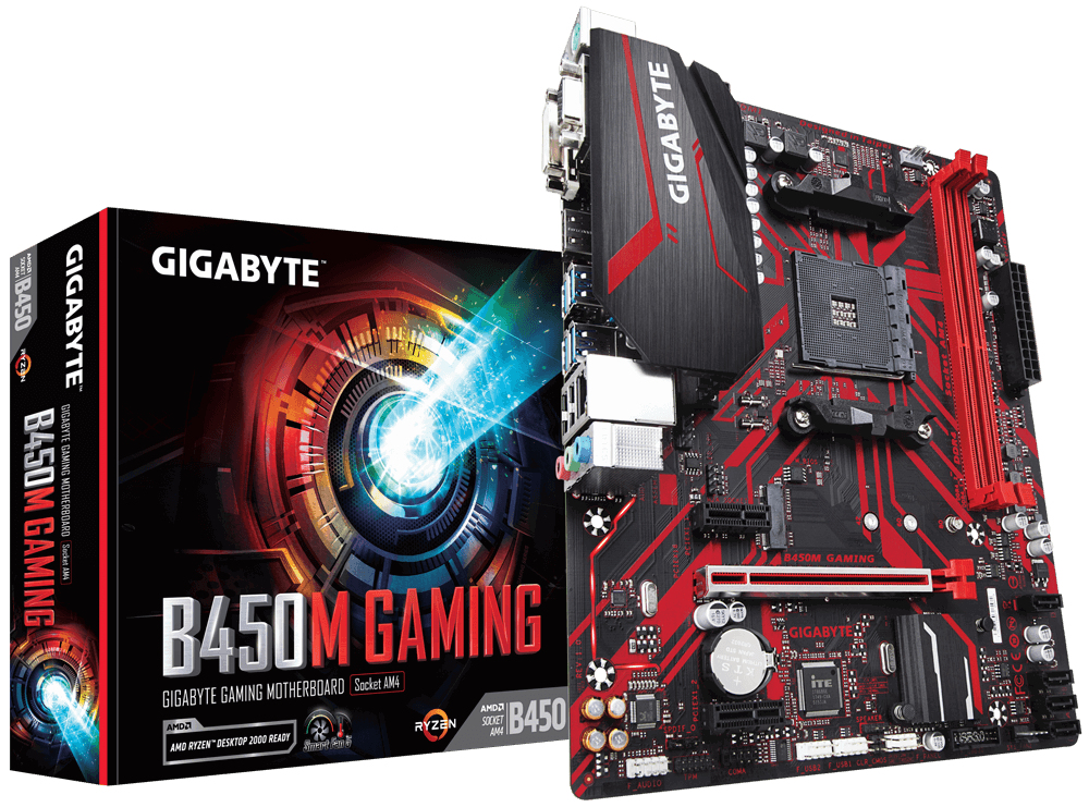 Gigabyte B450M GAMING - AMD - Socket AM4 - AMD Ryzen - DDR4-SDRAM - DIMM - 2133,2400,2667,2933 MHz