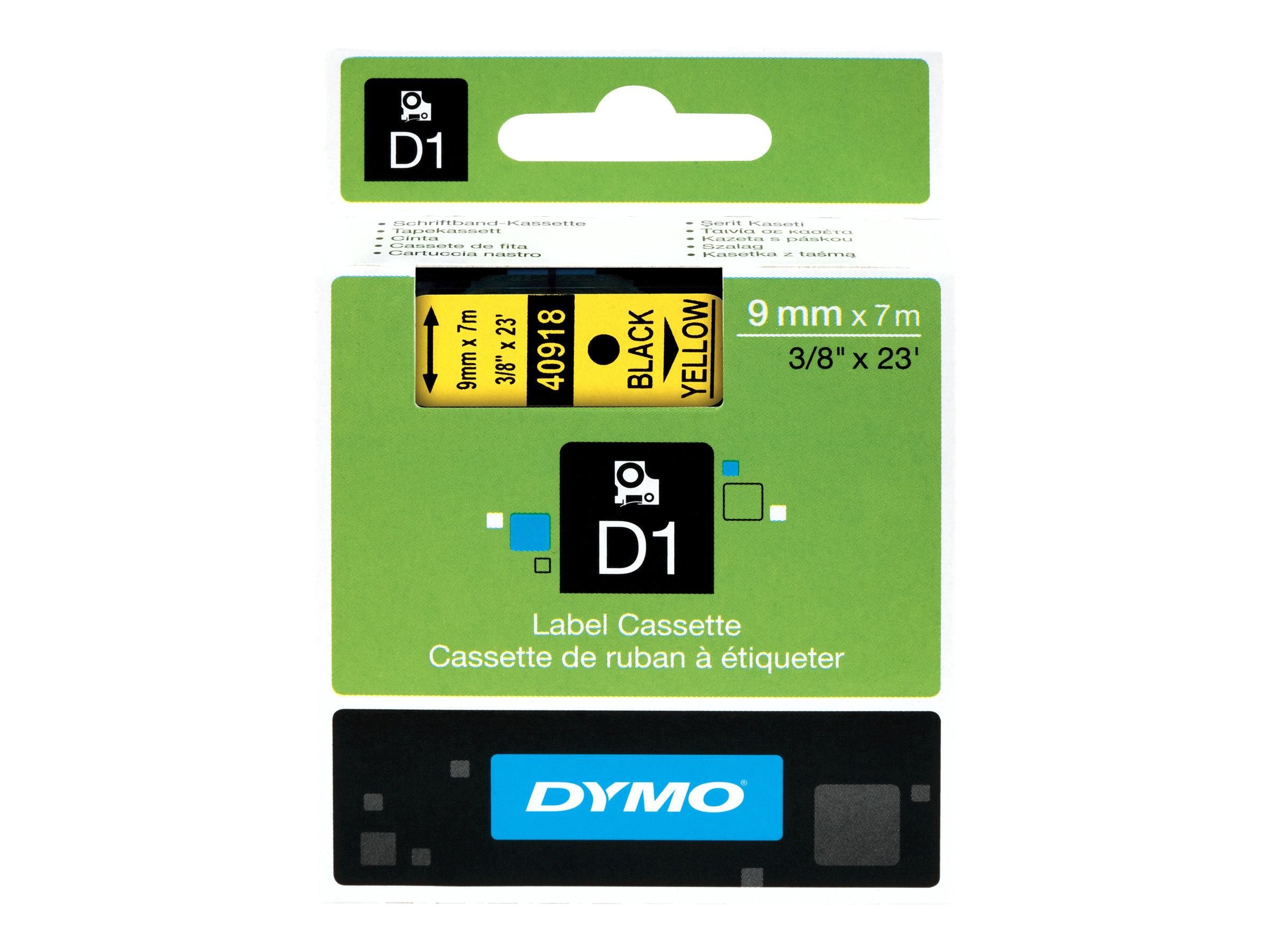 Dymo D1 - Polyester - selbstklebend - Schwarz auf Gelb - Rolle (0,9 cm x 7 m)