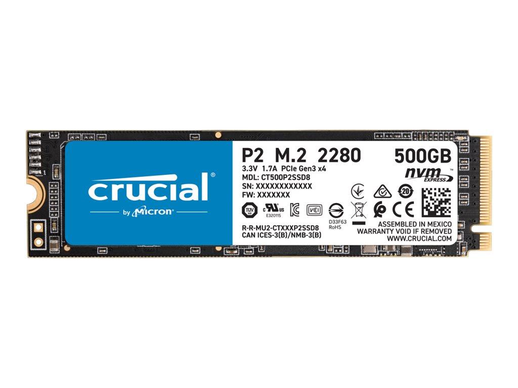 Vorschau: Micron Crucial P2 - 500 GB SSD - intern - M.2 2280 - PCI Express 3.0 x4 (NVMe)