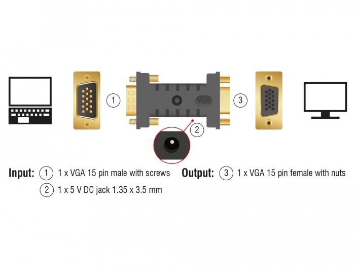 Delock 63326  VGA (DSub)  VGA (DSub) + USB  Male  Female  Straight  Straight