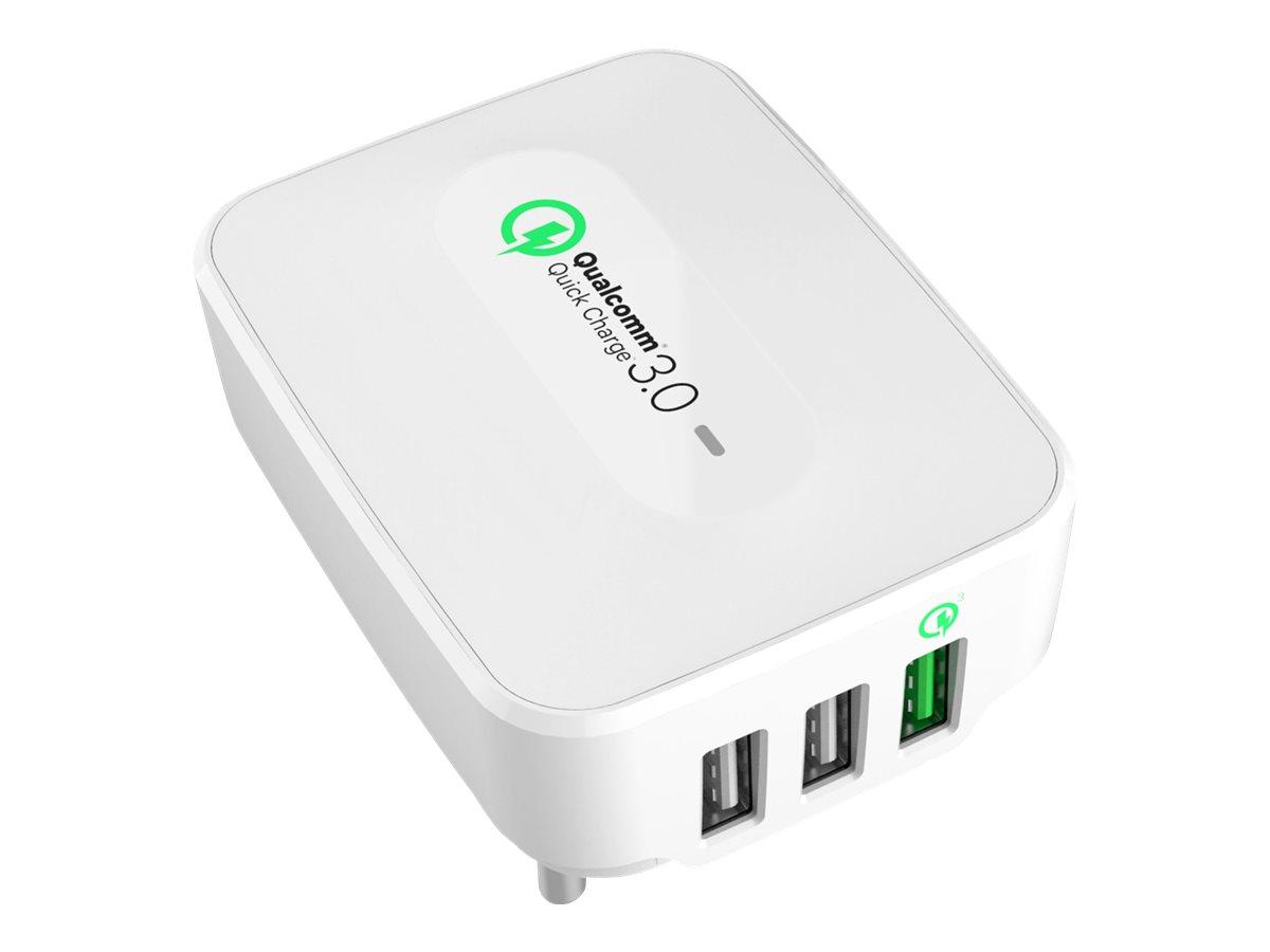 Ultron Realpower 3-Port wall charger - Netzteil - 25 Watt - 5 A - Quick Charge 3.0 - 3 Ausgabeanschlussstellen (USB)