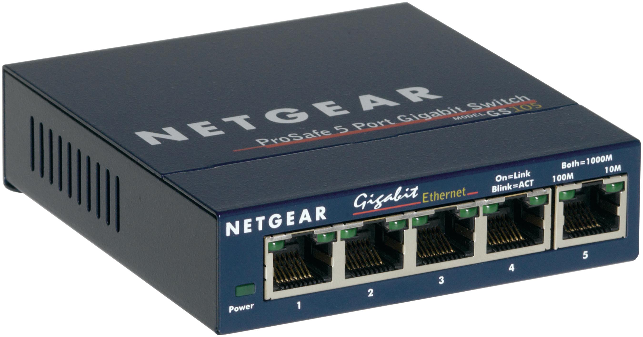 Netgear ProSafe GS105 - Switch - Kupferdraht 1 Gbps - 5-Port 3 HE - Extern