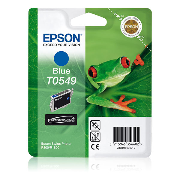 Epson-C13T05494020-Frog-Singlepack-Blue-T0549-Ultra-Chrome-Hi-Gloss-Original thumbnail 1