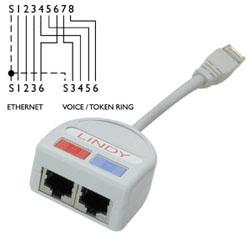 Lindy Port Doubler UTP 1 x Fast Ethernet 10/100+ 1 Telefo