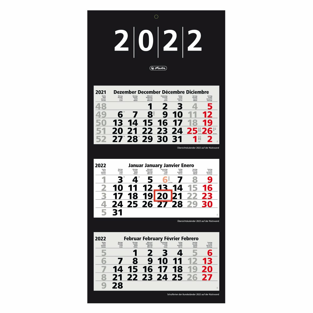 Herlitz 3-Monats-Wandkalender 2022 33x70cm