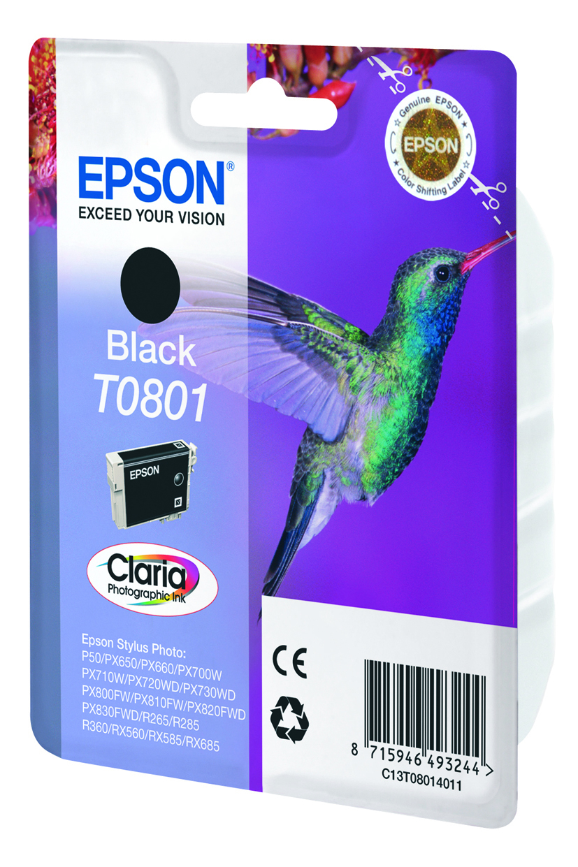 Epson-C13T08014011-Hummingbird-Singlepack-Black-T0801-Claria-Photographic-Ink thumbnail 2