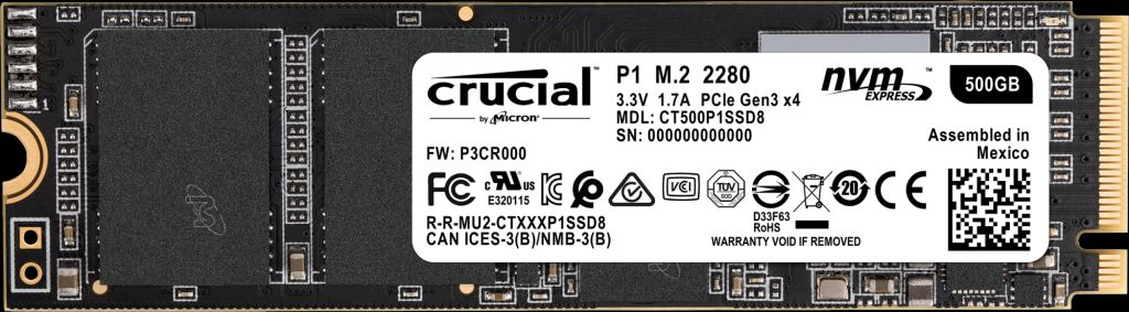 Crucial P1 - 500 GB - M.2 - 1900 MB/s