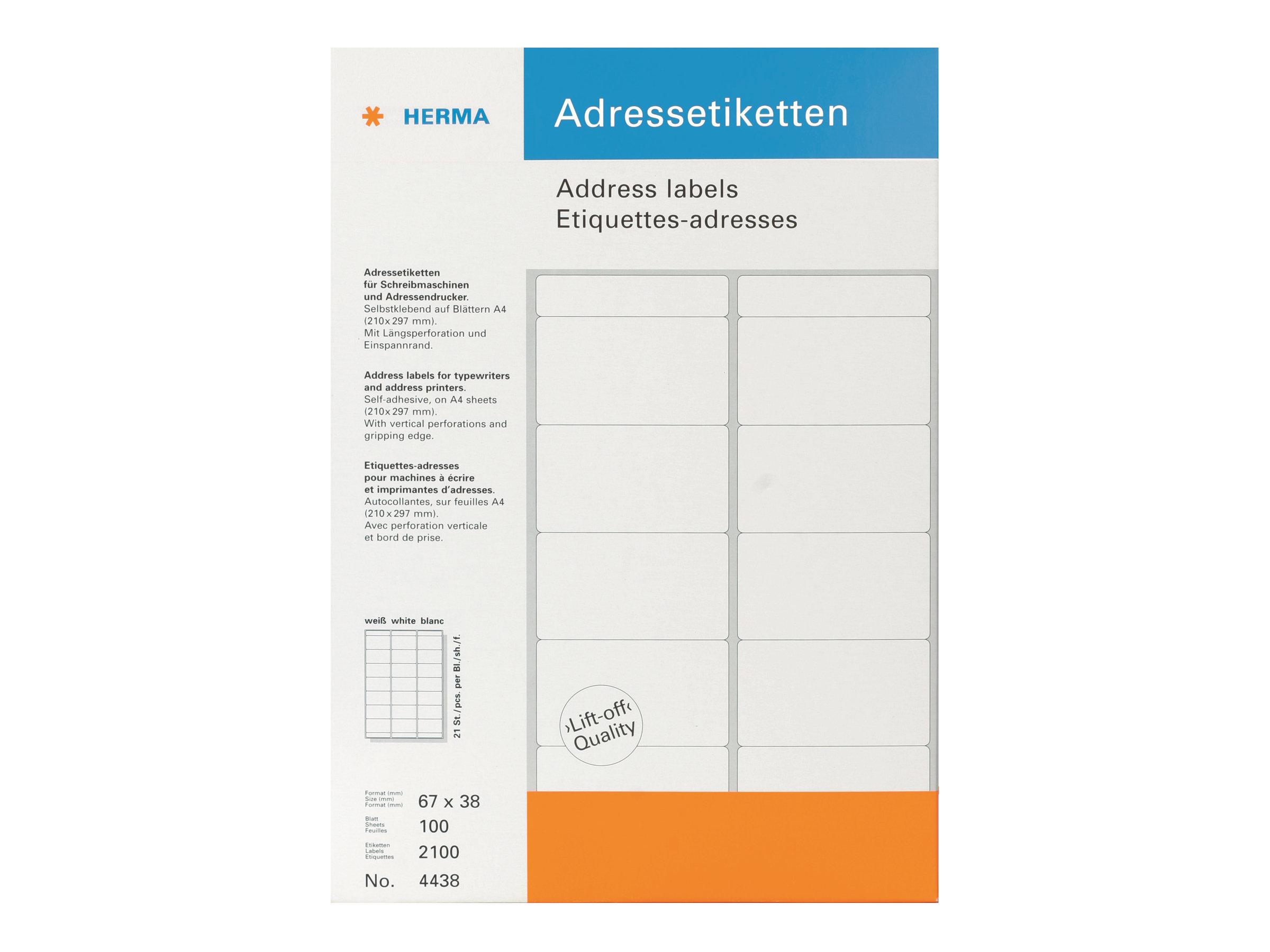 HERMA Selbstklebend - weiß - 67 x 38 mm 2100 Etikett(en) (100 Bogen x 21) Adressetiketten