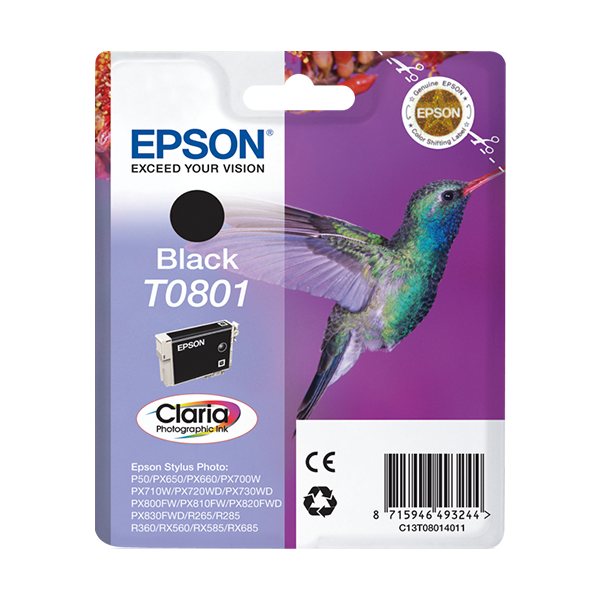 Epson-C13T08014011-Hummingbird-Singlepack-Black-T0801-Claria-Photographic-Ink