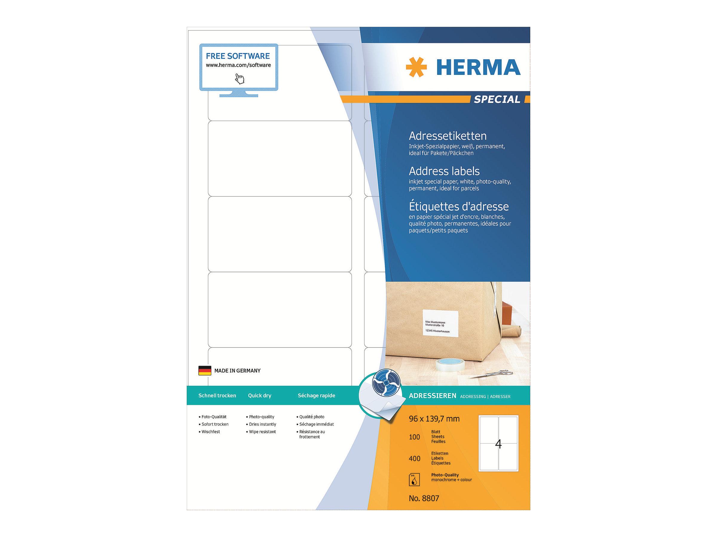 HERMA Special - Papier - matt - permanent selbstklebend - beschichtet - weiß - 96 x 139.7 mm - 90 g/m² - 400 Etikett(en) (100 Bogen x 4)