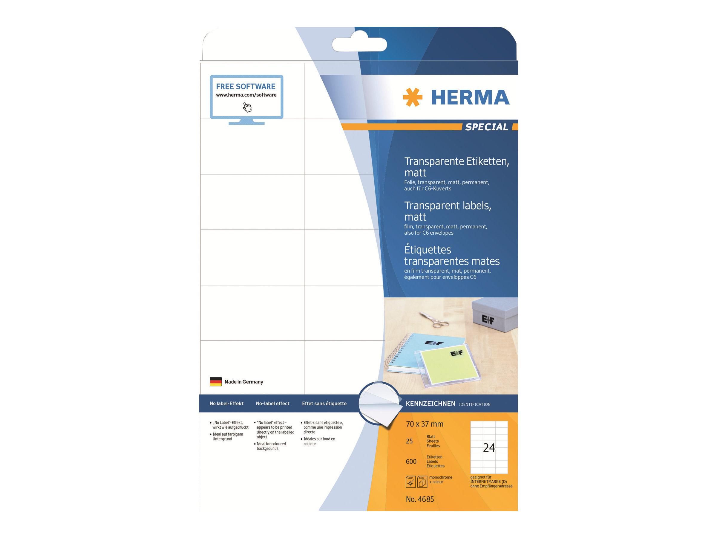 HERMA Special - Matt - permanent selbstklebend - durchsichtig - 70 x 37 mm 600 Etikett(en) (25 Bogen x 24)