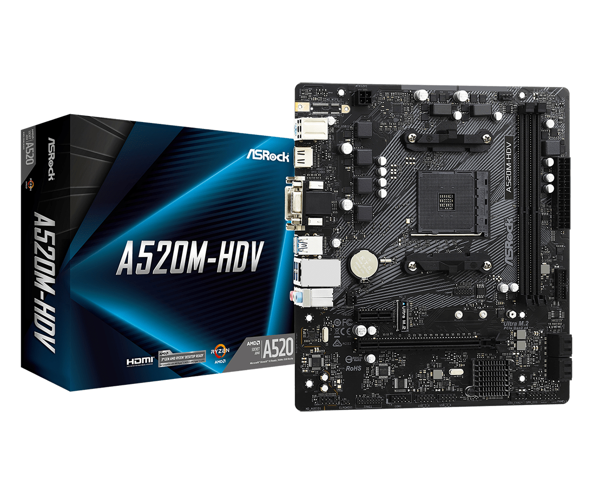 ASRock A520M-HDV - AMD - Socket AM4 - AMD Ryzen - DDR4-SDRAM - DIMM - 2133,2400,2666,2933,3200,3466,3600,3733,3800,3866,
