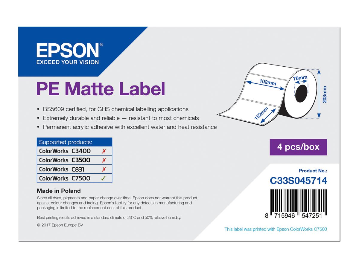 Epson PE - Matt - permanenter Acrylklebstoff - 102 x 152 mm 3200 Etikett(en) (4 Rolle(n)