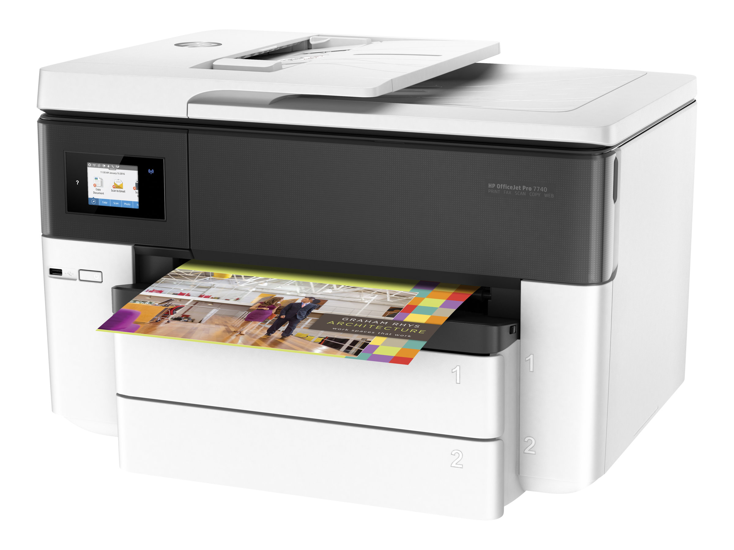 HP Officejet Pro 7740 All-in-One - Multifunktionsdrucker - Farbe - Tintenstrahl - A3/Ledger (297 x 432 mm)