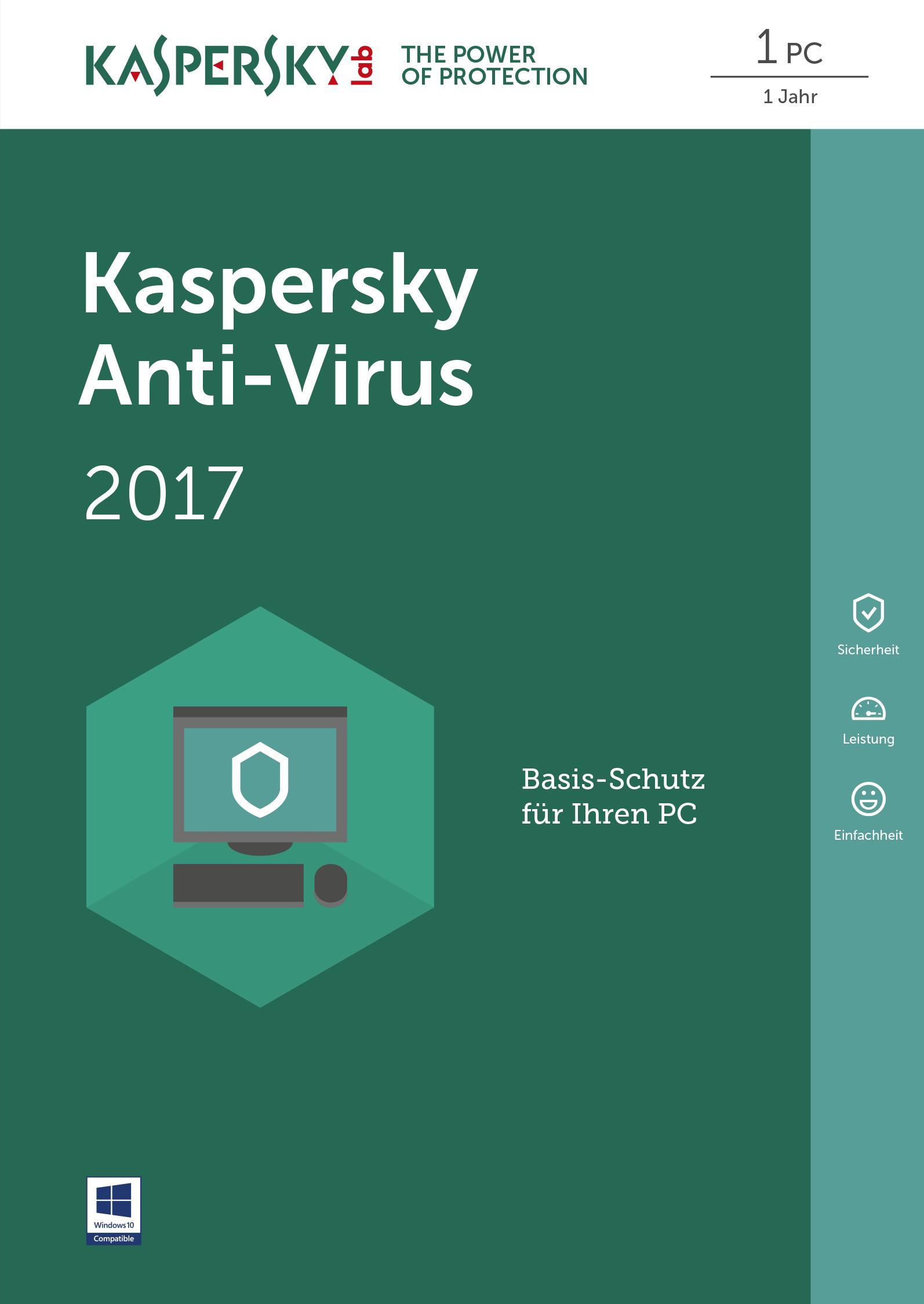 Kaspersky Anti-Virus 2017 - Box-Pack (1 Jahr) - 1 PC (Sierra)