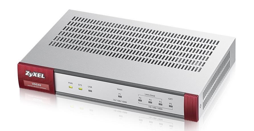ZyXEL USG40 - 100 Mbit/s - 2.0 A - 14 W - 0 - 40 °C - -30 - 70 °C - 10 - 90%