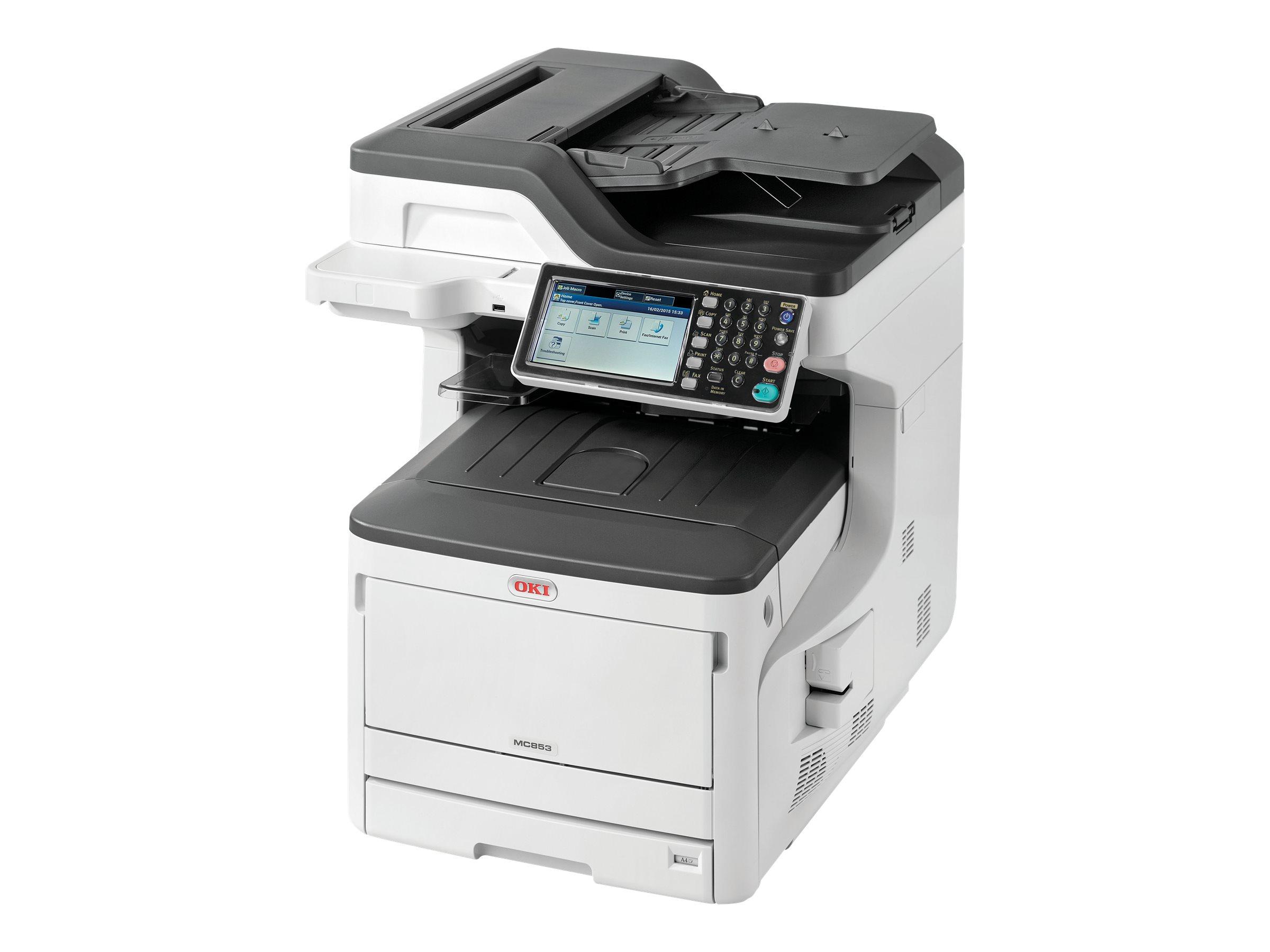 OKI MC853DN - Multifunktionsdrucker - Farbe - Laser - bis zu 23 Seiten/Min. (Drucken) - 400 Blatt - 33.6 Kbps - USB 2.0 - Gigabit LAN - USB-Host