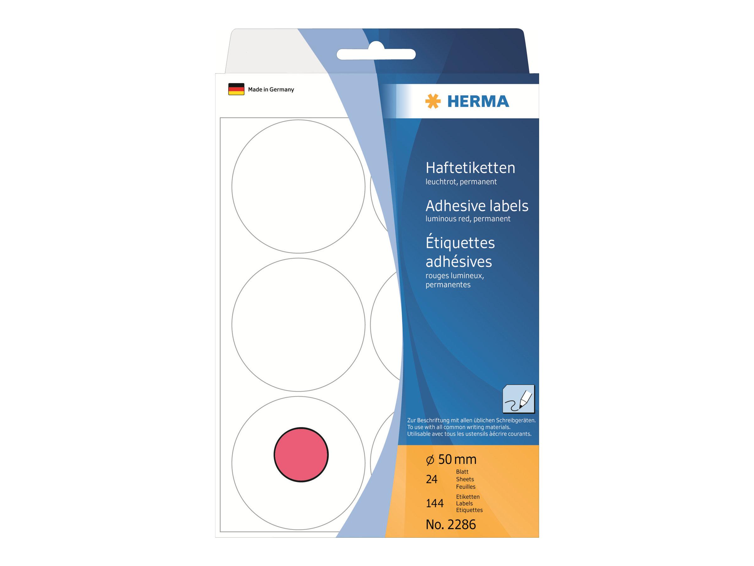 HERMA Papier - permanenter Klebstoff - Luminous Red - 50 mm rund 144 Etikett(en) (24 Bogen x 6)