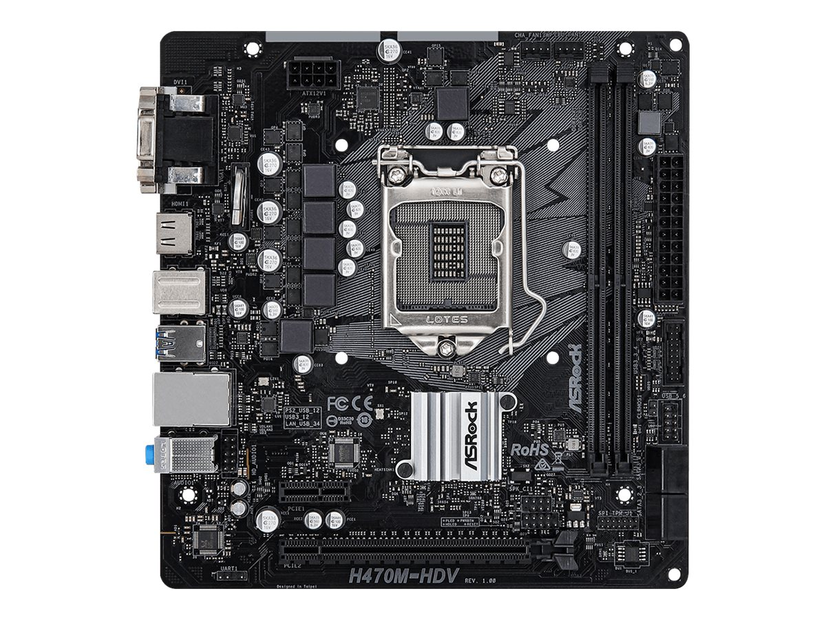 Vorschau: ASRock H470M-HDV - Motherboard - micro ATX - LGA1200-Sockel - H470 - USB 3.2 Gen 1 - Gigabit LAN - Onboard-Grafik (CPU erforderlich)