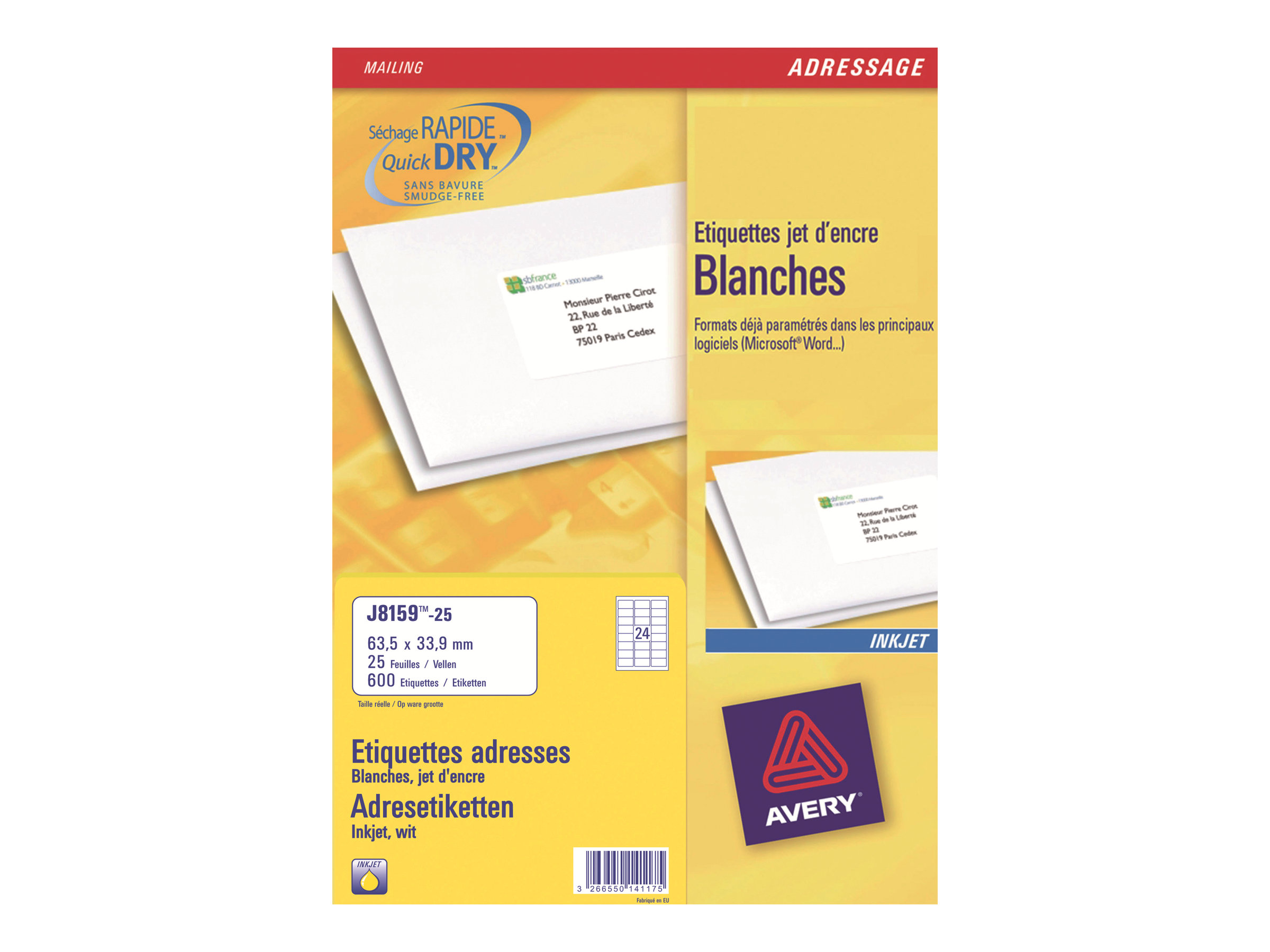 Avery Zweckform  33.9 x 64 mm 600 Stck. (25 Bogen x 24)