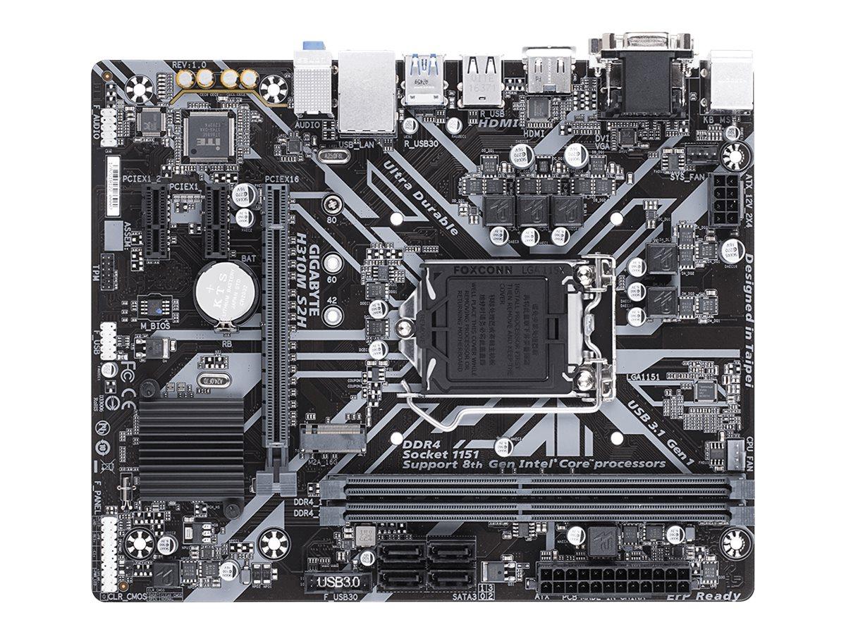 Gigabyte H310M S2H - 1.0 - Motherboard - micro ATX - LGA1151 Socket - H310 Chipsatz - USB 3.1 Gen 1 - Gigabit LAN - Onboard-Grafik (CPU erforderlich)