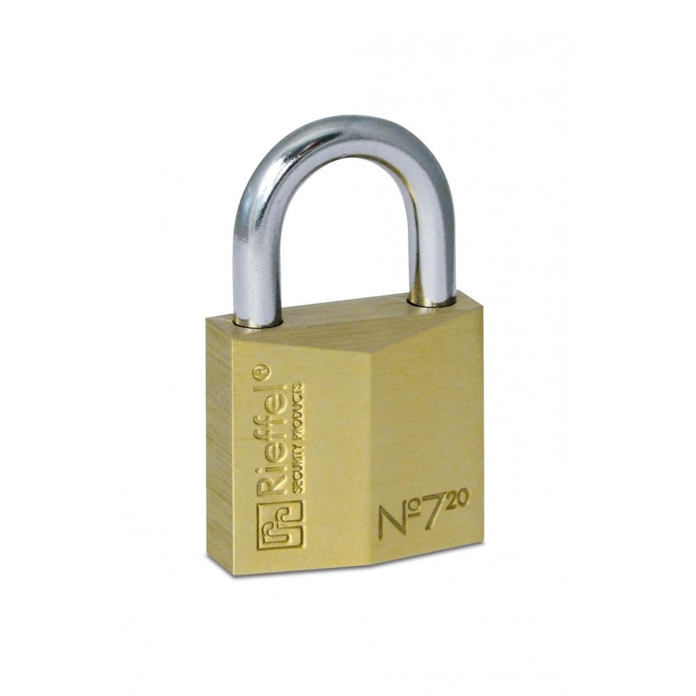 Rieffel 7/20 KA02 - Herkömmliches Vorhängeschloss - Tastensperre - Gleichschließung - Messing - Messing - Stahl