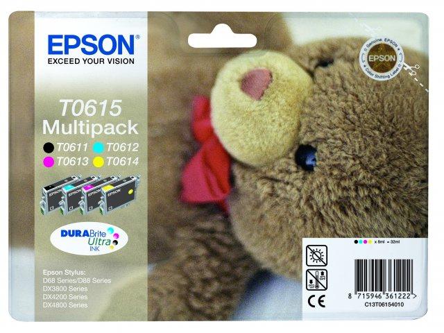 Epson Multipack T0615 - Druckerpatrone - 1 x pigmentiertes Schwarz, pigmentiertes Magenta, pigmentiertes Gelb, pigmentiertes Zyan
