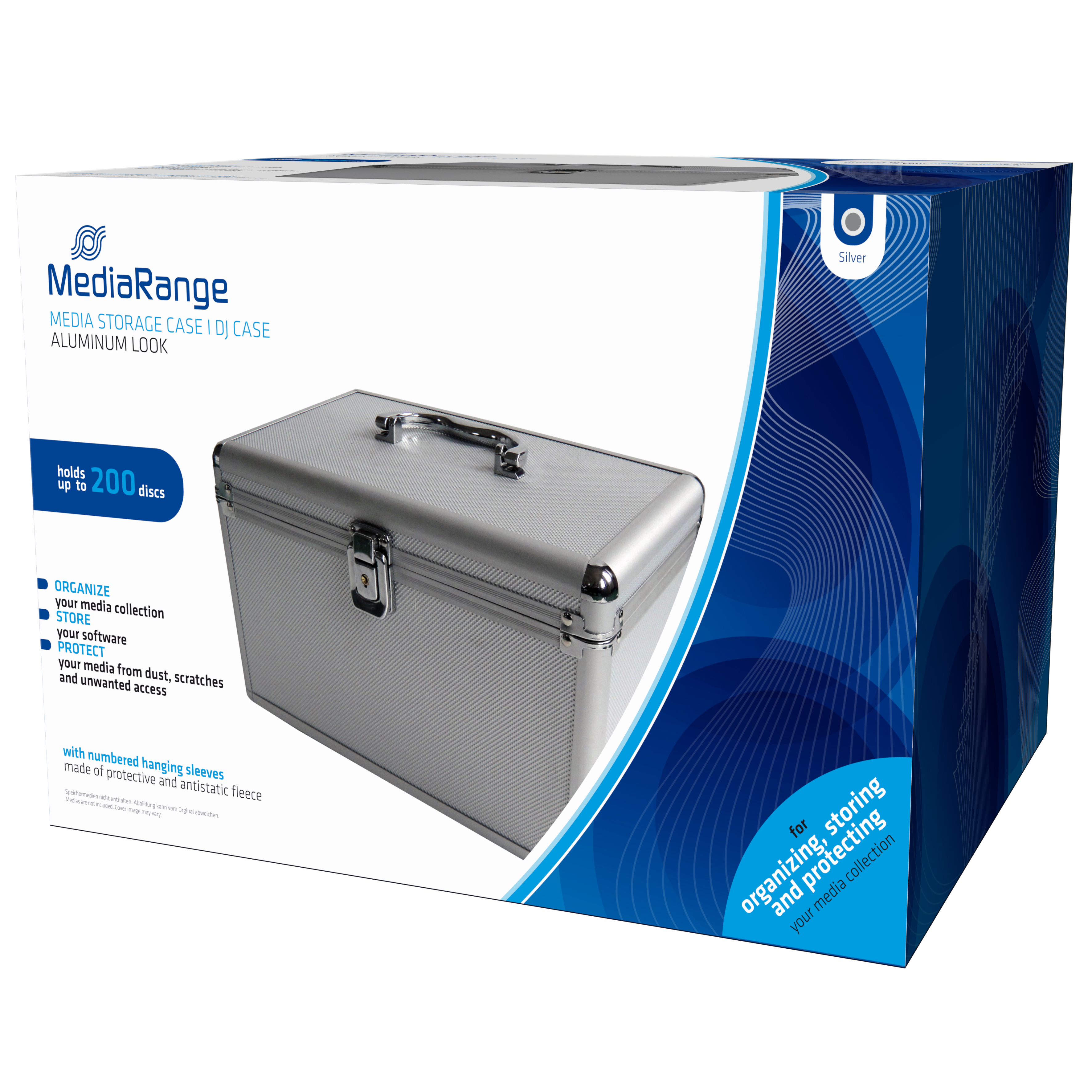 MEDIARANGE BOX75 - Gehäusebox - 200 Disks - Silber - Fleece - Kunststoff - Holz - 120 mm - Aluminium