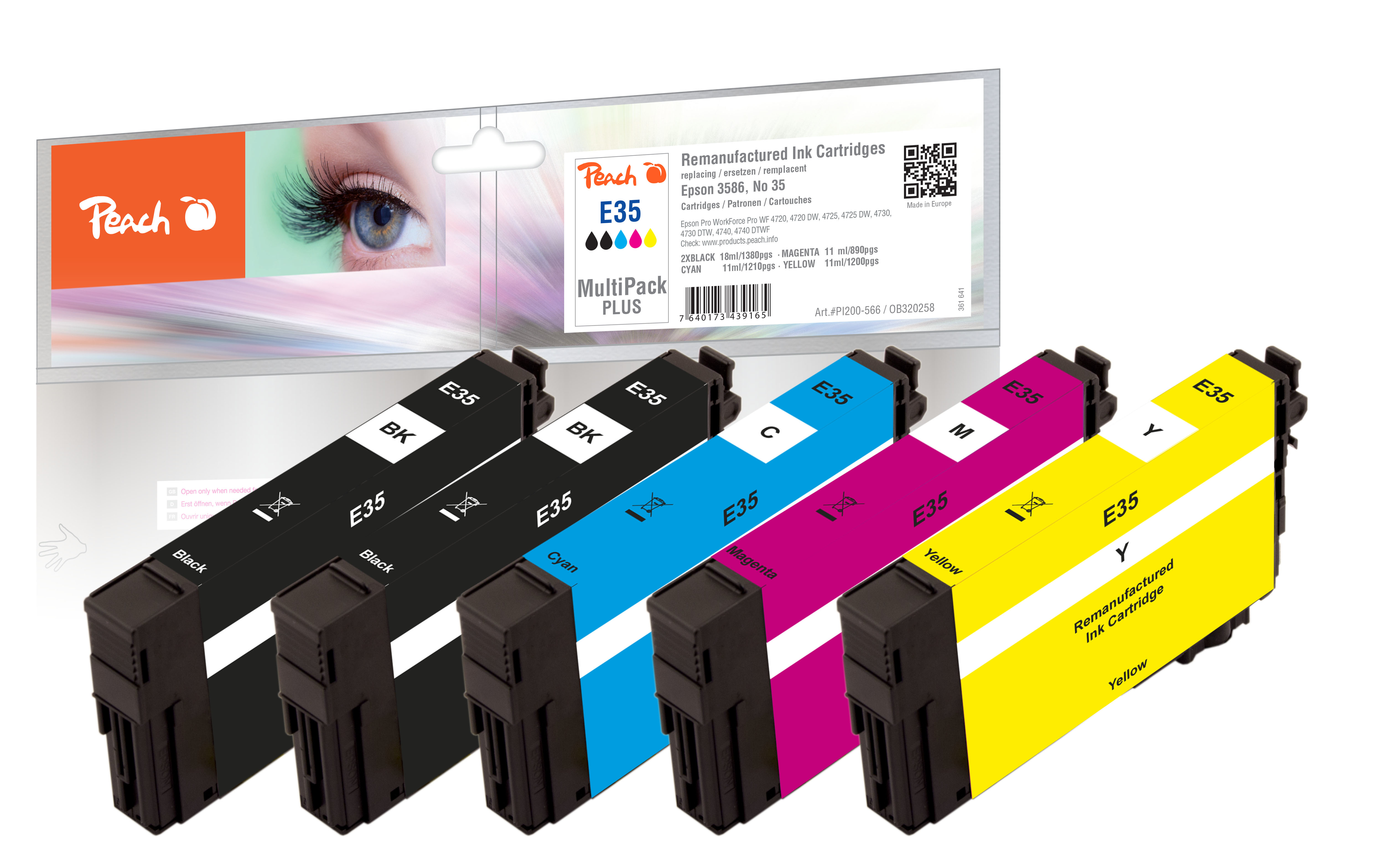 Peach PI200-566 - Compatible - Schwarz - Cyan - Magenta - Gelb - Epson - 5 Stück(e) - 18 ml - 11 ml