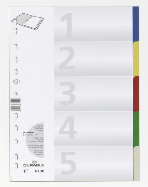 Durable Register mit farb.Taben - A4 hoch - 5-tlg. PP - Leerer Registerindex - Polypropylen (PP) - Mehrfarben - Porträt - A4 - 220 mm