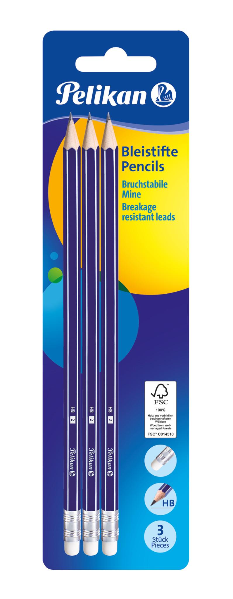 Pelikan 978866 - Bleistifte - HB - Radierer - 3 Stück