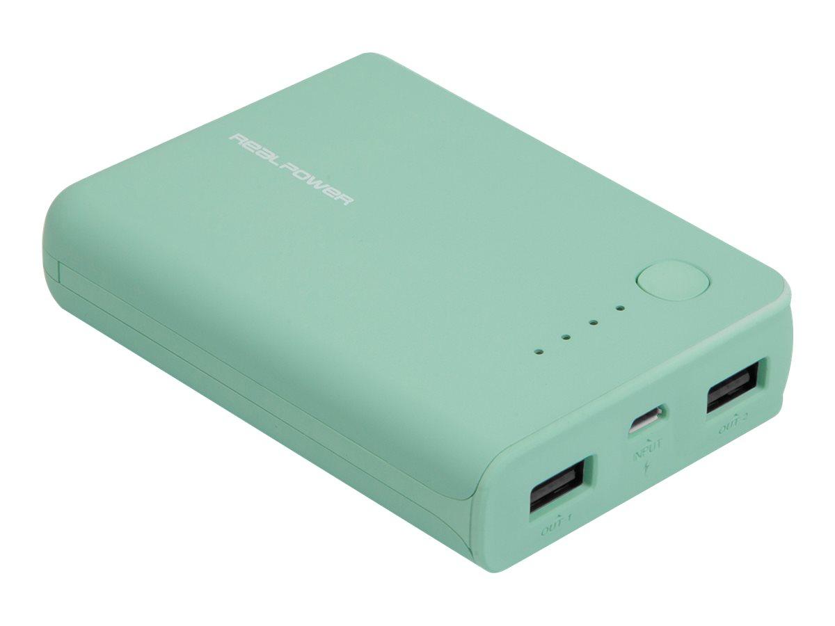 Ultron Realpower PB-10k - Powerbank - 10000 mAh - 2100 mA - 2 Ausgabeanschlussstellen (USB)