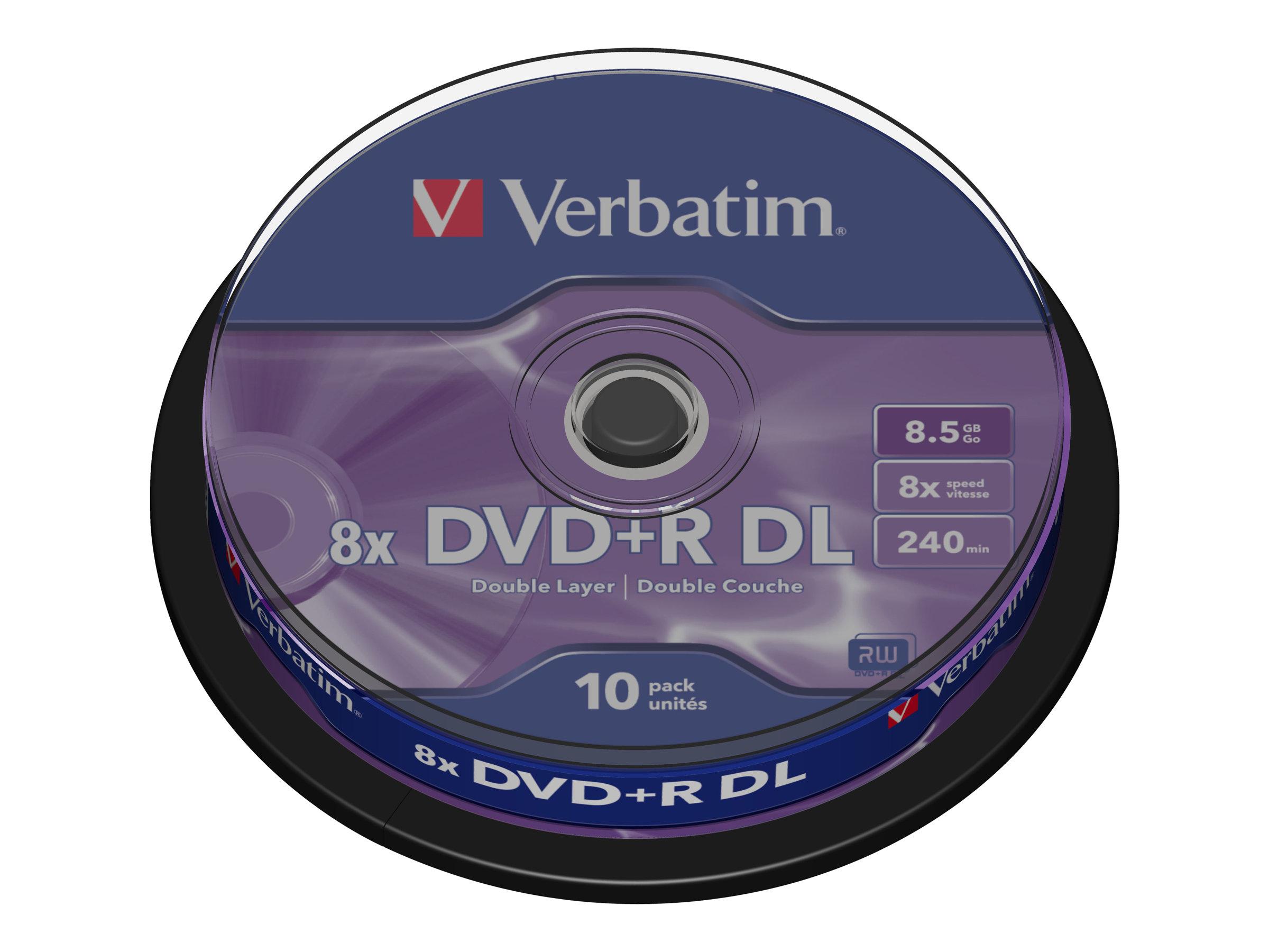Verbatim 10 x DVD+R DL - 8.5 GB 8x - mattsilber