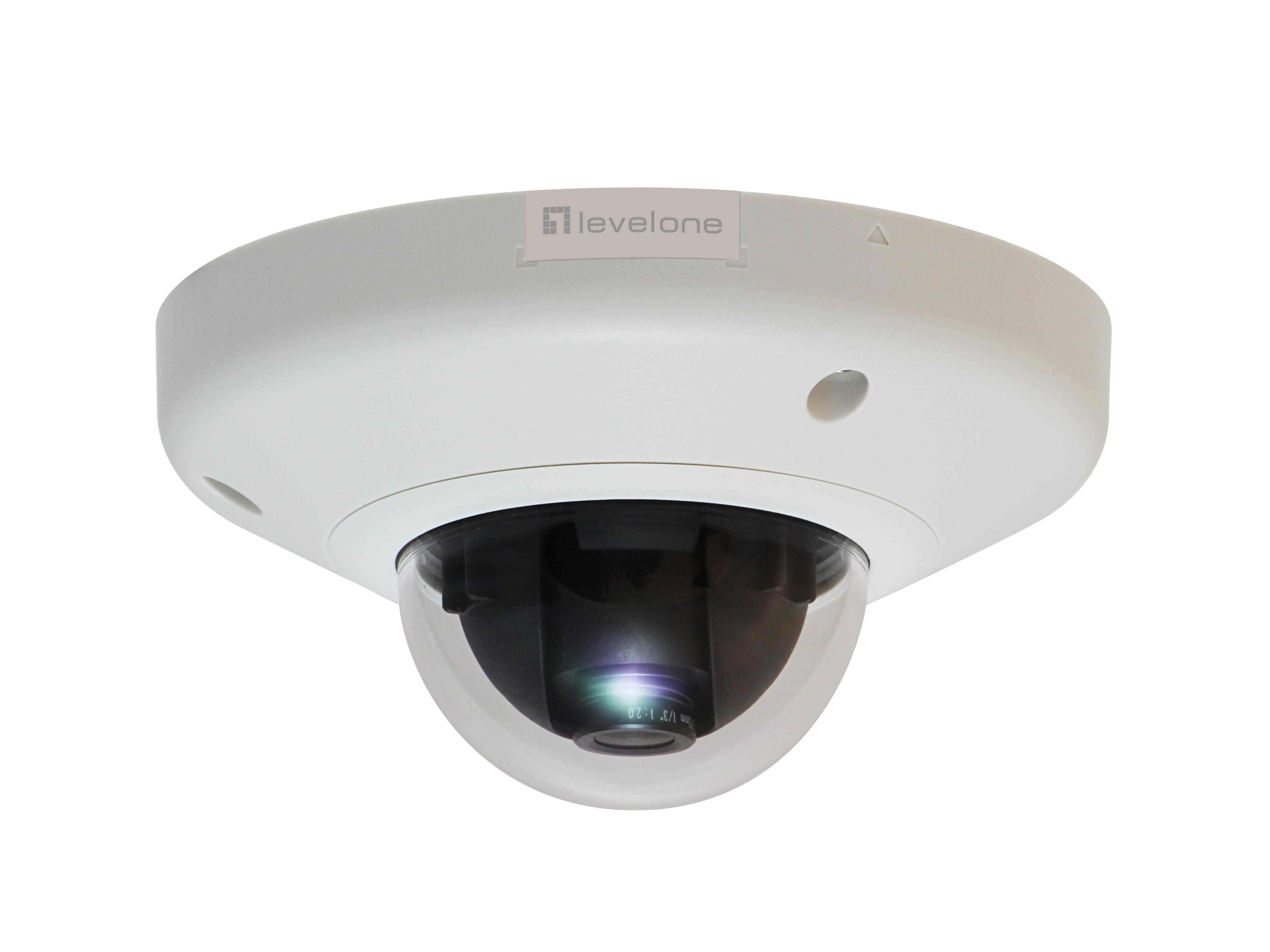 LevelOne Fixed Dome Network Camera - 3-Megapixel - PoE 802.3af - IP-Sicherheitskamera - Verkabelt - CE - FCC - IK08 - Kuppel - Decke/Wand - Schwarz - Weiß