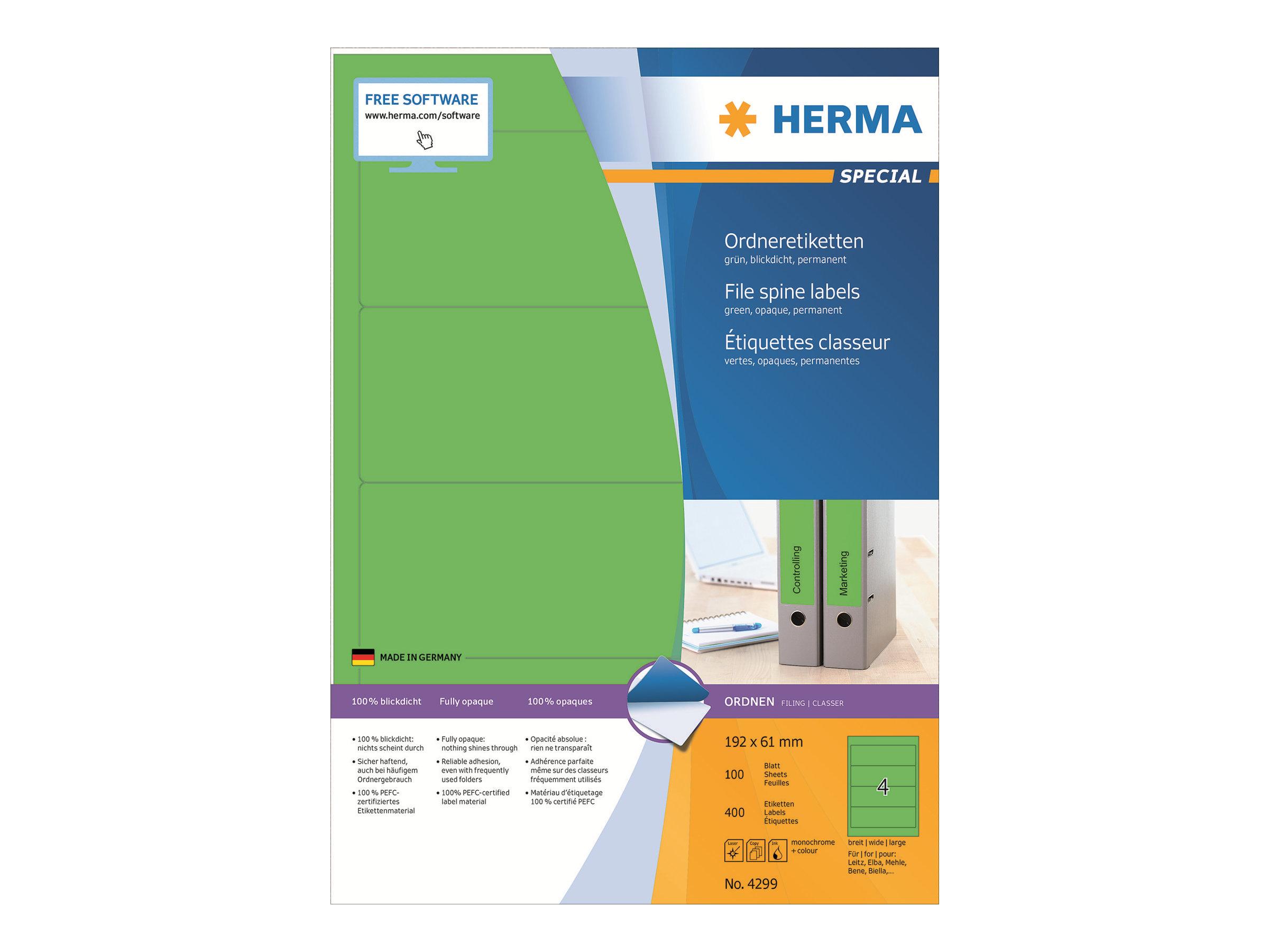 HERMA Special - Papier - matt - permanent selbstklebend - grün - 192 x 61 mm 400 Etikett(en) (100 Bogen x 4)