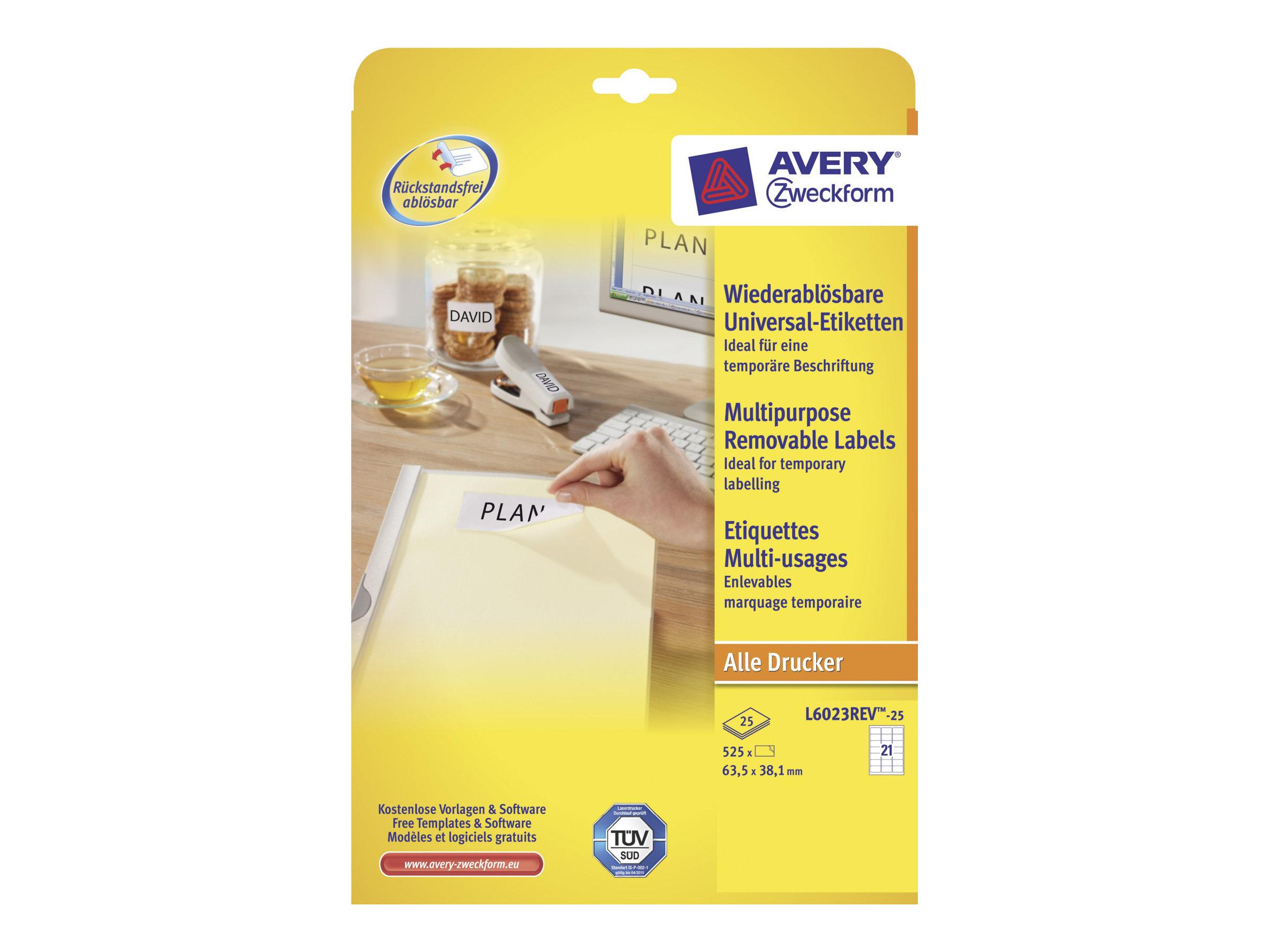 Avery Zweckform L6023REV - Entfernbarer Klebstoff