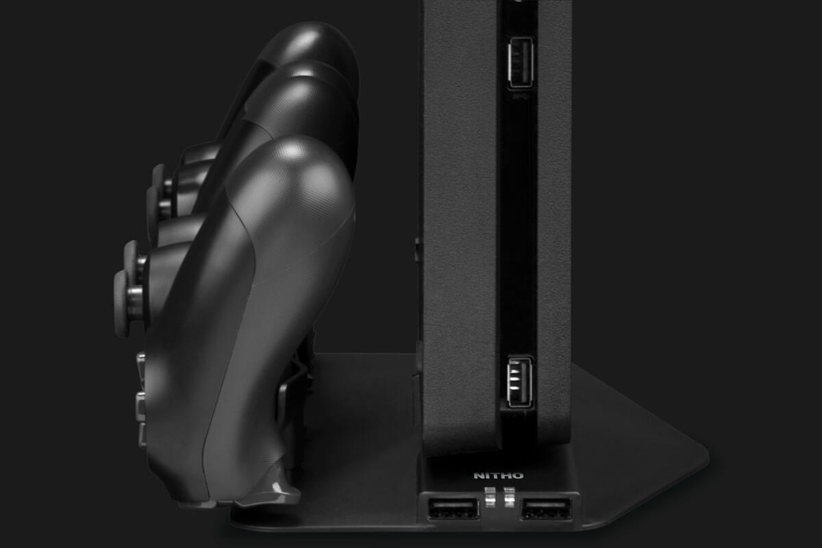 Nitho PS4-MSPR-K - Stand - PlayStation 4 - Schwarz - PS4 Slim / PS4 Pro - USB